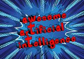 Awesome Artificial Intelligence - Comic Book Style Word On Abstract Background. poster