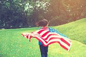 Happy Kid Little Child Running With American Flag Usa Celebrate 4Th Of July poster