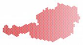 Red Round Spot Austria Map. Geographic Scheme In Red Color With Horizontal Gradient. Vector Collage  poster