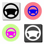 Steering Wheel. Simple Flat Vector Icon Illustration On Four Different Color Backgrounds poster