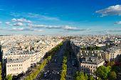 The Avenue Des Champs-elysees And Paris Skyline, France poster