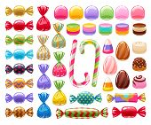 Colorful Sweets Set - Hard Candy, Chocolate Eggs, Candy Canes, Jellies. Vector Illustration. Assorte poster