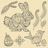 Vector Illustration Of Animal And Plant Ornament Rodent, Rabbit, And Plants, Pear, Flowers, Egg, Har poster