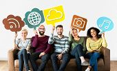 Cheerful people holding social media icons poster