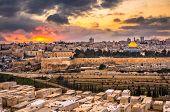 Jerusalem, Israel old city skyline at dusk from Mount of Olives. poster