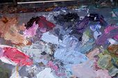 Oil Paint Palette. Paint Palette with various colors of oil paint. poster