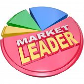The largest slice of a 3D pie chart with the words Market Leader to signify the company, business or organization that has enjoyed the most success and earned a dominant role in its industry or field
