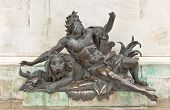 Men With Lion Sculpture Of The Place Bellecour, Lyon, France