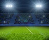 Soccer Stadium with Green Grass Field with Bright Floodlight Background. Football Backdrop. 3D Illus poster