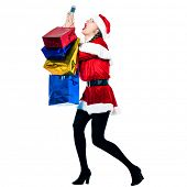 one woman dressed as santa claus carrying despair on the telephone christmas bags  on studio isolate