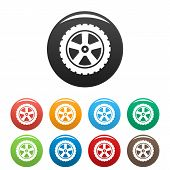 Transport Tire Icon. Simple Illustration Of Transport Tire Vector Icons Set Color Isolated On White poster