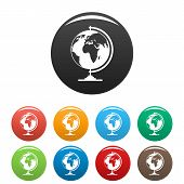 Geography Icon. Simple Illustration Of Geography Vector Icons Set Color Isolated On White poster