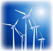 Generadores eólicos & cielo azul. Mapa de bits copiar mi ID 65168767 del vector