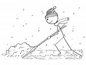 Cartoon Stick Drawing Conceptual Illustration Of Man With Snow Pusher Shoveling The Snow. poster
