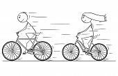 Cartoon Stick Drawing Illustration Of Man And Woman Or Girl And Boy Riding Or Cycling On Bicycle. poster