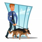 Caucasian Police Officer With Dog, Canine Security Policeman Officer And Watchdog, Man In Uniform Ho poster