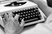 Typography And Writing Concept. Writer Typing With Retro Writing Machine. Old Typewriter And Authors poster