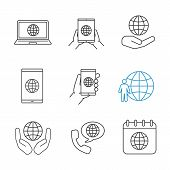 Worldwide Linear Icons Set. Tablet Pc Internet, Smartphone And Laptop, Planet In Hands, Earth Popula poster