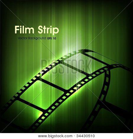 Постер, плакат: Фильм полосы или плёнки на фоне блестящей зеленый кино EPS 10, холст на подрамнике