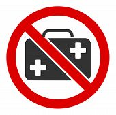 No First-aid Case Vector Icon. Flat No First-aid Case Pictogram Is Isolated On A White Background. poster