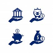 Banking Silhouetted Icons Set With Blue Fill. Piggy Bank, Bank Building And Bag Full Of Coins In Han poster