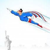 Ilustración de superhéroes en traje de bandera americana volando por encima de la estatua de la libertad