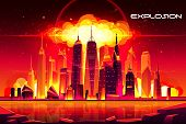 Nuclear Explosion In City Metropolis. Fiery Mushroom Cloud Of Atomic Bomb Detonation Raising Under S poster