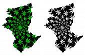 Kostanay Region (republic Of Kazakhstan, Regions Of Kazakhstan) Map Is Designed Cannabis Leaf Green  poster