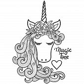 Magical Time. The Head Of A Unicorn With A Long Mane. Childrens Illustration Vector poster