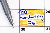Reminder Handwriting Day In Calendar With Pen. January 23. poster