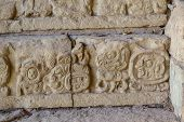 Mayan Drawings In The Temples Of Copan Ruinas. Honduras poster