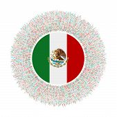 Flag Of Mexico With Colorful Rays. Radiant Country Sign. Shiny Sunburst With Mexico Flag. Beautiful poster