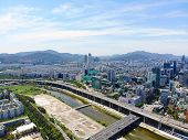 Aerial View Cityscape Of Seoul, South Korea. Seoul Downtown City Skyline With River And Mountain On  poster