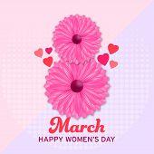 Beautiful Illustration With International Womens Day. International Womens Day In Vintage Style. 8 M poster