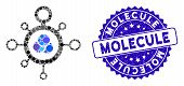 Mosaic Molecule Icon And Corroded Stamp Seal With Molecule Phrase. Mosaic Vector Is Designed With Mo poster