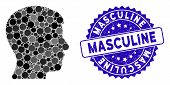 Mosaic Man Profile Icon And Distressed Stamp Seal With Masculine Phrase. Mosaic Vector Is Formed Fro poster