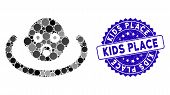 Mosaic Baby Environment Icon And Corroded Stamp Seal With Kids Place Phrase. Mosaic Vector Is Compos poster