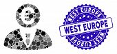 Mosaic Euro Banker Icon And Grunge Stamp Watermark With West Europe Text. Mosaic Vector Is Formed Wi poster