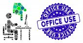 Mosaic Office Use Icon And Grunge Stamp Watermark With Office Use Text. Mosaic Vector Is Created Wit poster