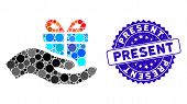 Mosaic Present Icon And Grunge Stamp Seal With Present Caption. Mosaic Vector Is Created From Presen poster