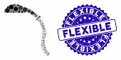Collage Flexible Shower Icon And Corroded Stamp Seal With Flexible Text. Mosaic Vector Is Composed W poster