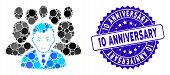 Mosaic Crowd Icon And Distressed Stamp Seal With 10 Anniversary Phrase. Mosaic Vector Is Created Wit poster