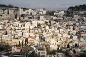 Aerial Cityscape View Of Residential Neighborhood During A Cloudy Day. Taken In Jerusalem, Israel. poster