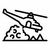Firefighter Helicopter Icon. Outline Firefighter Helicopter Vector Icon For Web Design Isolated On W poster