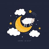 Cute Sleeping Sheep In Night Sky Vector Illustration. Funny Fluffy Lamb Stands In Crescent. Good Nig poster