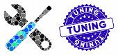 Mosaic Tuning Tools Icon And Grunge Stamp Seal With Tuning Phrase. Mosaic Vector Is Formed From Tuni poster