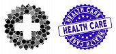 Collage Health Care Stamp Icon And Rubber Stamp Seal With Health Care Text. Mosaic Vector Is Created poster