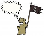 cartoon teddy bear with pirate flag