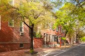 Neighborhood With Traditional Brick Houses, Old City Cultural District, Philadelphia, Pennsylvania,  poster