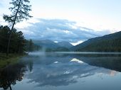 Ulagan Lake. Altai Mountains. Siberia Russia. Nature Morning Landscape poster